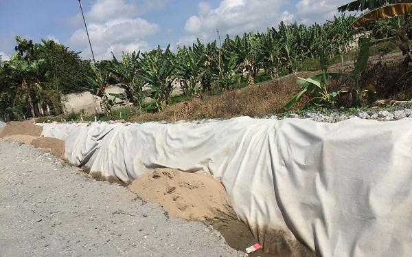 Công trình hệ thống đường bộ tại Tiền Giang sử dụng vải địa kỹ thuật của Phú An Nam