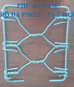 Rọ đá mắc lưới P10 dây đan 2.7 mm kích thước (5 x 2 x 0.3)m, rọ đá mạ kẽm, rọ đá bọc PVC, rọ đá